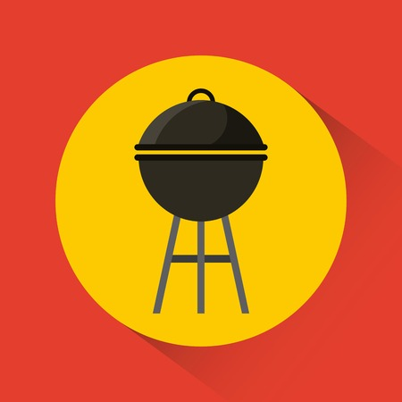 barbecue grill icon inside yellow circle over red background. colorful design. vector illustration