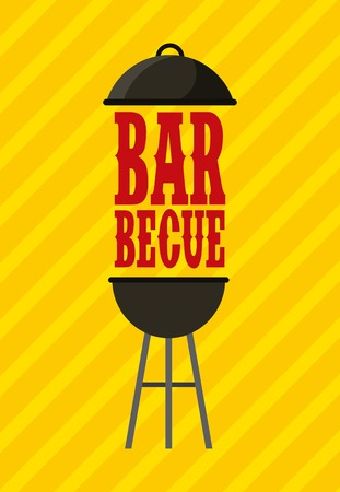 barbecue grill icon over yellow background. colorful design. vector illustration