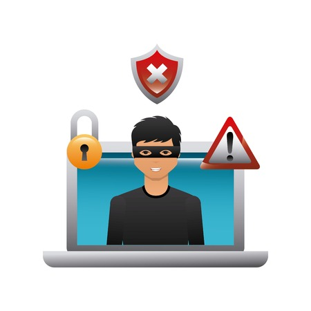 cartoon hacker man with laptop computer icon over white background. cyber security concept. colorful design. vector illustration Illustration