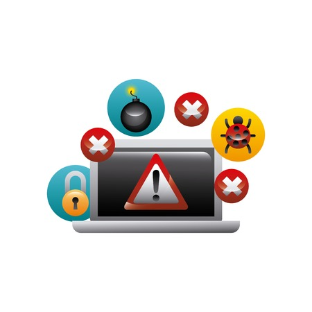 laptop computer with cyber security icons around.  colorful design. vector illustration