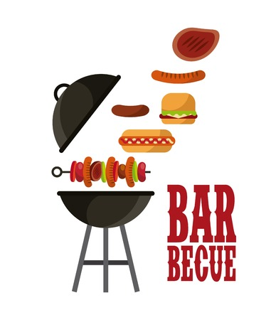 barbecue with grilled food icon over white background. colorful design. vector illustration