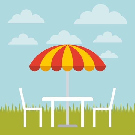 resistant: table, chairs and striped parasol over landscape background. colorful design. vector illustration Illustration