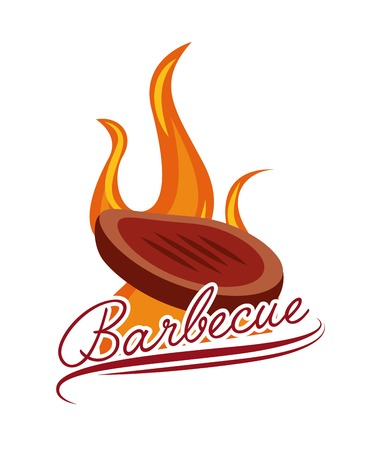 steak of meat burning over white background. barbecue grill concept. colorful design. vector illustration