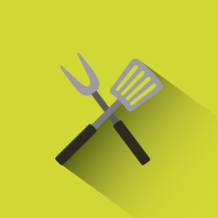 crossed barbecue utensils icon over green background. colorful design. vector illustration
