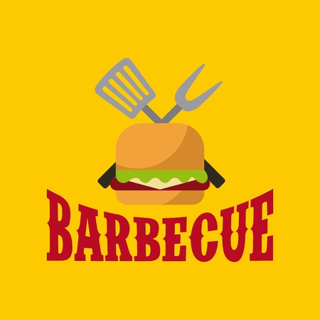 hamburger with utensils crossed over yellow background. colorful design. vector illustration