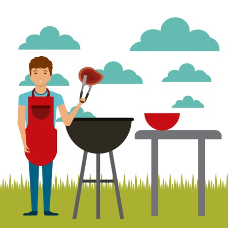 cartoon man with steak of meat and barbecue grill over landscape background. colorful design. vector illustration