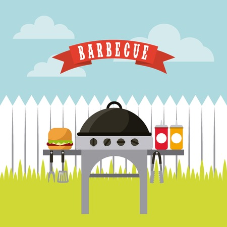barbecue grill with hamburger and sauces bottles over landscape background. colorful design. vector illustration