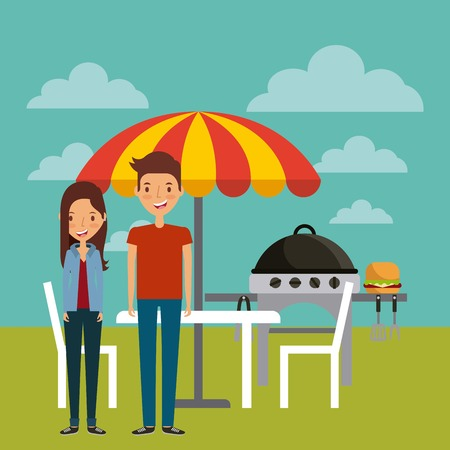 cartoon man and woman smiling and barbecue grill over landscape background. colorful design. vector illustration