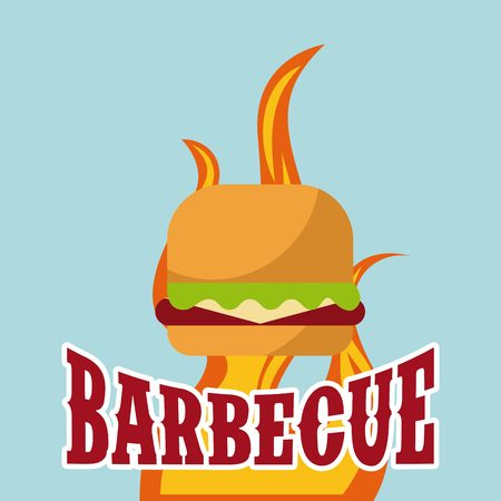 fire flames with hamburger icon over blue background. barbecue grill concept. colorful design. vector illustration