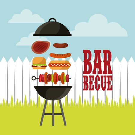 barbecue with grilled food icon over landscape  background. colorful design. vector illustration