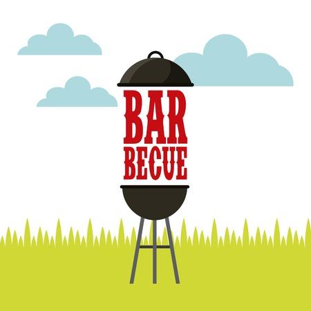 barbecue grill icon over landscape background. colorful design. vector illustration