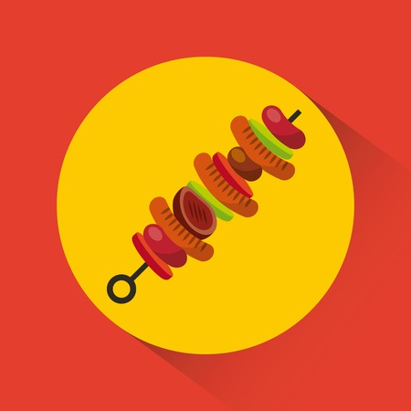 sweker with grilled food icon over background. barbecue grill concept. colorful design. vector illustration