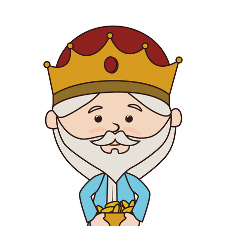 balthazar: wise man manger character vector illustration design