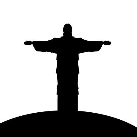corcovado: corcovado christ silhouette icon vector illustration design