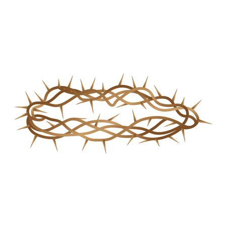 jesus christ crown of thorns: Crown of thorns isolated icon vector illustration design