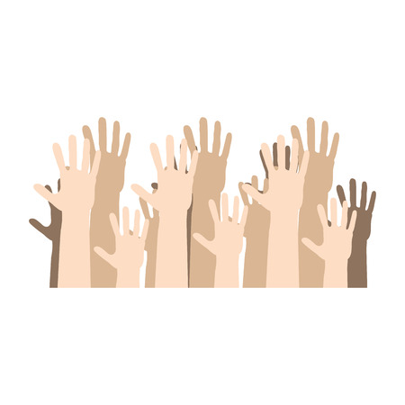 hands human up democracy ison vector illustration design