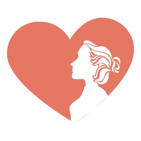 femme avec coeur carte vector illustration design