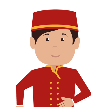 hospitality staff: bellboy character hotel service icon vector illustration design