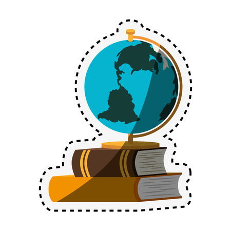 book school with planet earth isolated icon vector illustration design