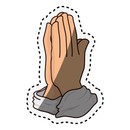 hands praying isolated icon vector illustration design