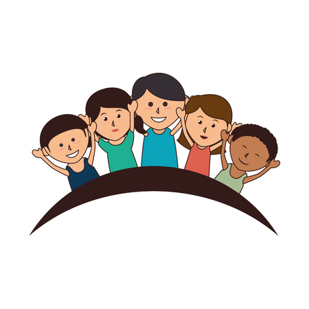 group of kids: cute kids group icon vector illustration design