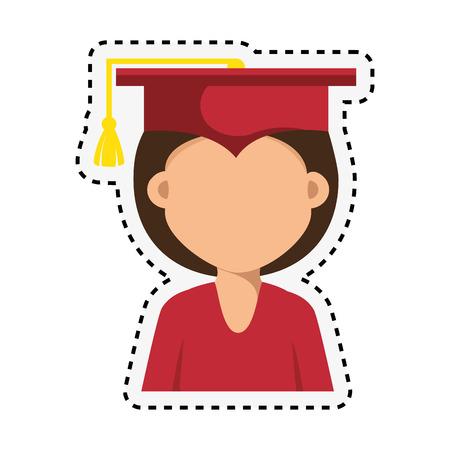 student graduation with uniform icon vector illustration design