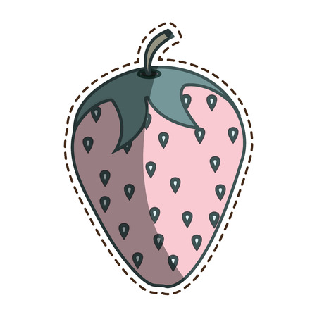 cut line: fresh fruit with cut line isolated icon vector illustration design
