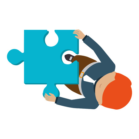 person with puzzle pieces game icon vector illustration design