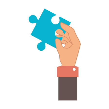 hand human with puzzle pieces game icon vector illustration design