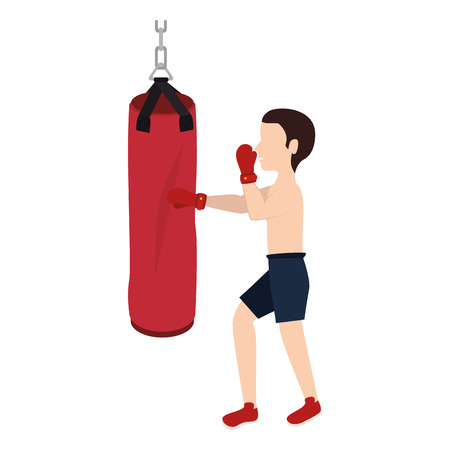 boxer silhouette avatar with punch bag icon vector illustration design