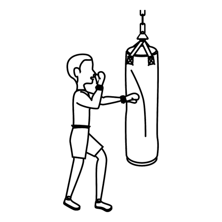 punch: boxer silhouette avatar with punch bag icon vector illustration design