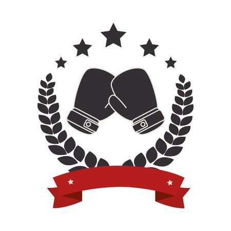boxing gloves emblem icon vector illustration design Illustration