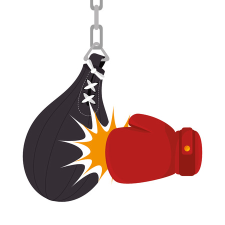 punch: boxing gloves equipment with punch bag icon vector illustration design Illustration