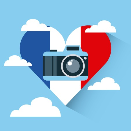 heart with france flag colors with photographic camera over sky background colorful design. vector illustration Illustration