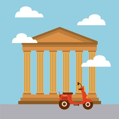 pantheon iconic monument of italy and scooter motorcycle icon over sky background. colorful design. vector illustration Illustration