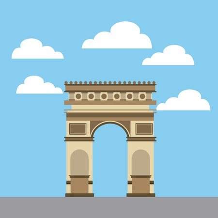 Iconic monument of france arch of triumph  over sky background. Colorful design. Vector illustration