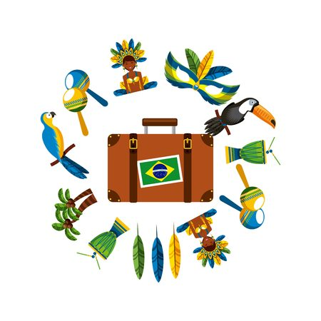 janeiro: suitcase with brazil flag sticker and brazilian culture icons around over white background. colorful design. vector illustration