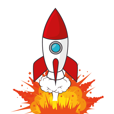 rocket start-up isolated icon vector illustration design Illustration