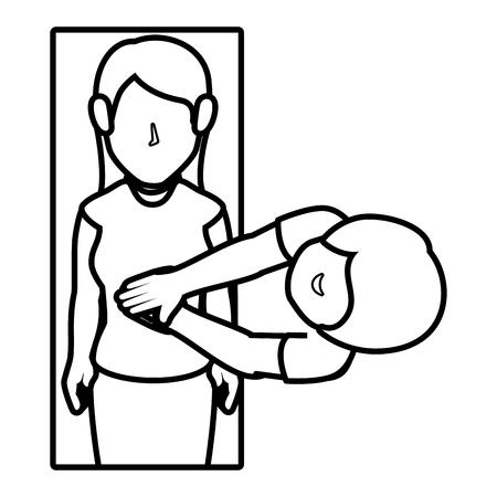 human silhouette doing resuscitation vector illustration design