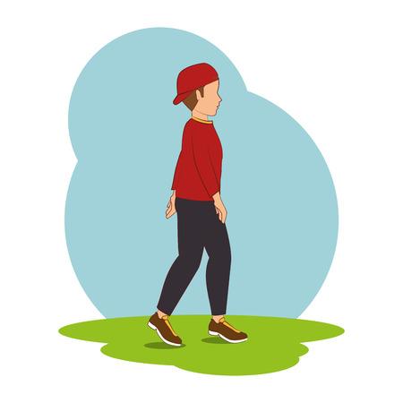 la gente que camina aislado icono de ilustración vectorial de diseño Vectores