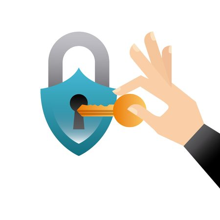 padlock and hand holding a key icon over white background. colorful design. vector illustration Illustration