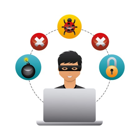 cartoon hacker man with cyber security icons around. colorful design. vector illustration