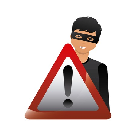 cartoon hacker man with warning sign icon over white background. cyber security concept. colorful design. vector illustration