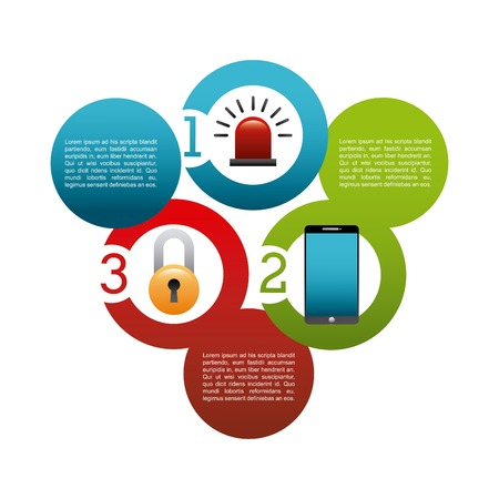 infographic presentation of cyber security concept. colorful design. vector illustration Illustration