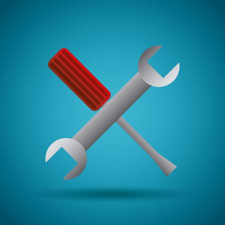 screw and wrench  crossed over blue background. repair tools design. vector illustration