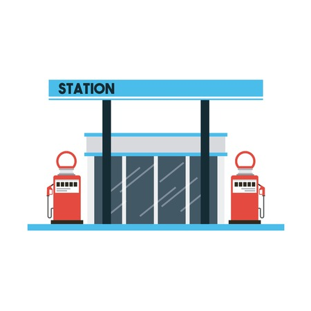 refuel: gas station icon over white background. colorful design. vector illustration