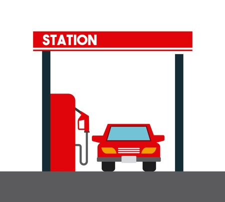 benzine: gas station and car icon over white background. colorful design. vector illustration