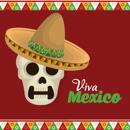 viva mexico poster celebration vector illustration design