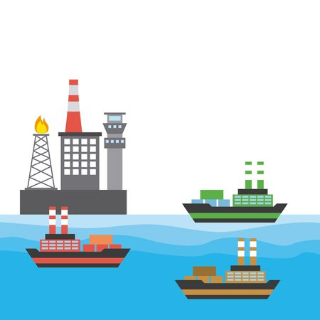 fishing rig: oil rig industry and cargo ships icon. colorful design. vector illustration Illustration