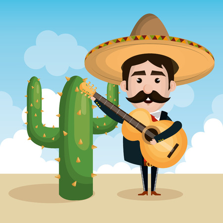 mariachi: mexican mariachi character classic vector illustration design Illustration